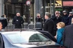 Personenschutz  beim Treffen in Aachen von Angela Merkel und Emmanuel Macron